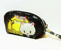 Akuma Neko Cute Kawaii Black Makeup Pouch Bag