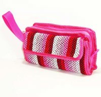 Harajuku Style Makeup Bag Pouch - Pink Red Knit