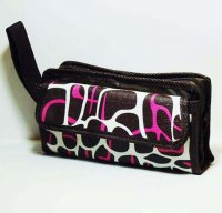 Harajuku Makeup Bag Pink Brown Leopard Pattern Pouch