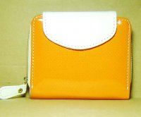 Harajuku Style Wallet Patent Leather Purse Orange White Color