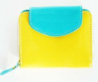 Harajuku Style Wallet Patent Leather Purse - Yellow Blue