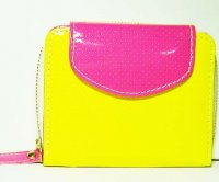 Harajuku Style Wallet Patent Leather Purse - Yellow Dark Pink