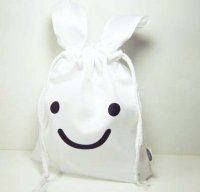 Cute White Rabbit Drawstring Bag Pouch