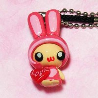 Clay Pink Rabbit Keychain Strap