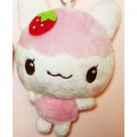 Kawaii Plushie Pink Fruit Cat Keyring Strap