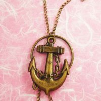Bronze Anchor Pendant Necklace