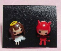 Angel Girl and Red Devil Cute Clay Earrings