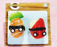 Kawaii Yummy Salmon and Crab Sushi Clay Earrings