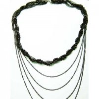 Black Beaded Multi Chain Necklace
