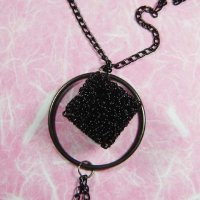 Handmade Wire Black Cube Pendant Necklace
