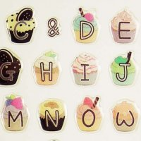 Alphabet Cupcake Decoration Sticker Sheet