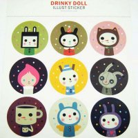 Drinky Doll & Cat Cute Waterproof Stickers - 2 sheets