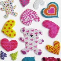 Cute Bear and Hearts Raised Kawaii Glitter Sticker Sheet