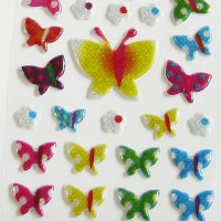 Colorful Cute Butterfly Raised Sparkly Sticker Sheet