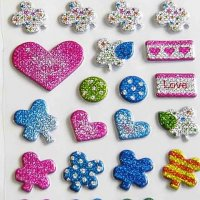 Lucky Clover Hearts Raised Kawaii Sparkly Sticker Sheet