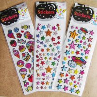 Raised Epoxy Kawaii Sparkly Sticker 3 Sheet Set