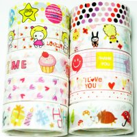 Colorful Assorted Kawaii Deco Tape Set C - 10 rolls