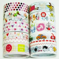 Decorative Tape Mixed Cute Designs Set M2 - 10 rolls