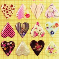 Vintage Pattern Raised Hearts Decoration Sticker Sheet