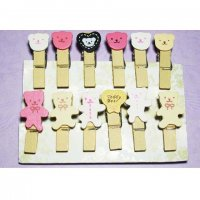 Mini Teddy Bears Wooden Clips